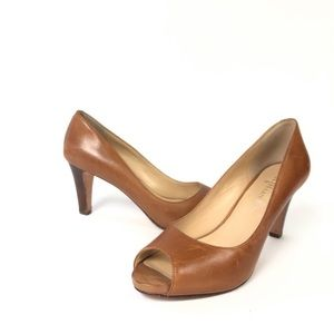 Cole Haan Leather brown peep toe pump heels pumps